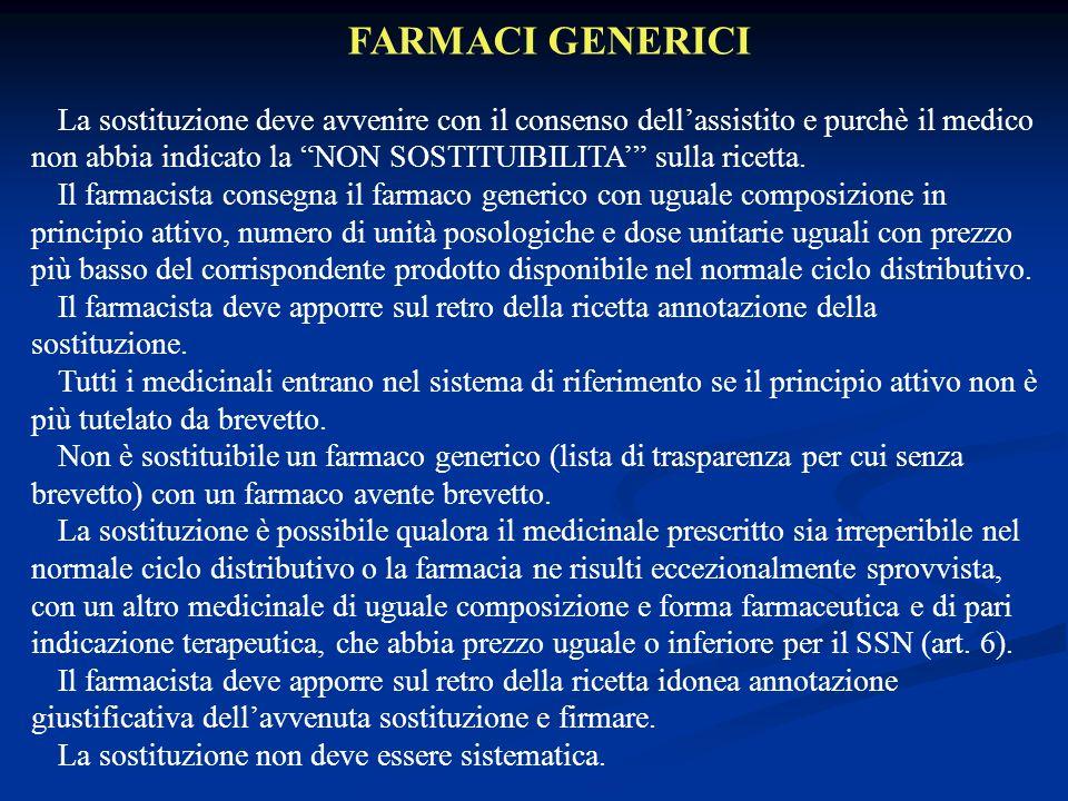 FARMACI GENERICI La sostituzione deve avvenire con il consenso dellassistito e purchè il medico non abbia indicato la NON SOSTITUIBILITA sulla ricetta.