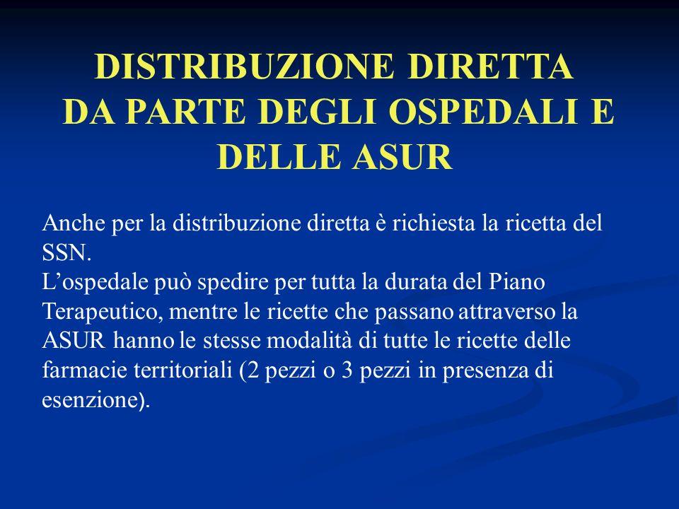 DISTRIBUZIONE DIRETTA DA PARTE DEGLI OSPEDALI E DELLE ASUR Anche per la distribuzione diretta è richiesta la ricetta del SSN.