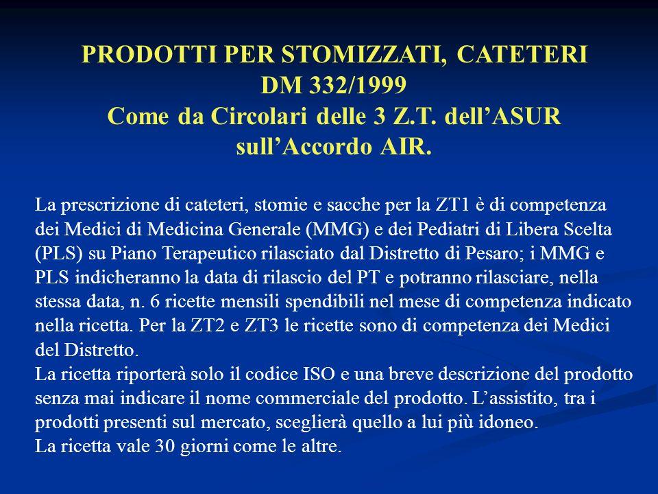PRODOTTI PER STOMIZZATI, CATETERI DM 332/1999 Come da Circolari delle 3 Z.T.