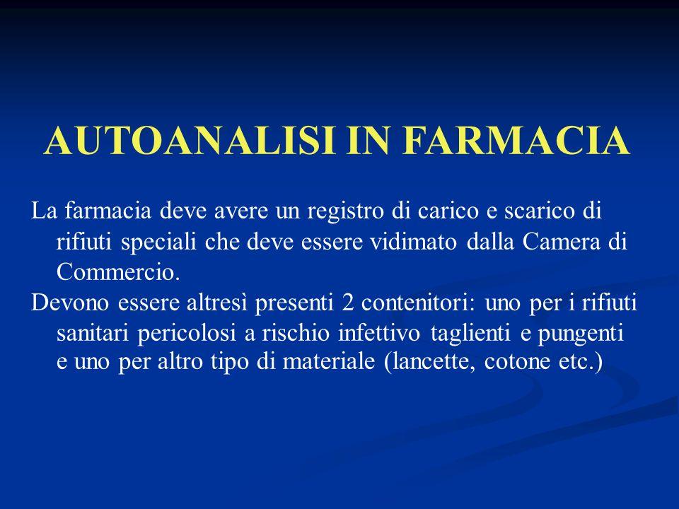AUTOANALISI IN FARMACIA La farmacia deve avere un registro di carico e scarico di rifiuti speciali che deve essere vidimato dalla Camera di Commercio.