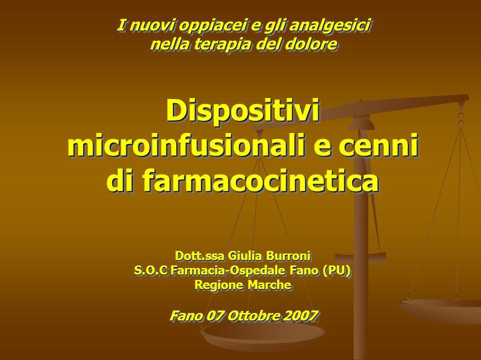 I nuovi oppiacei e gli analgesici nella terapia del dolore Dispositivi microinfusionali e cenni di farmacocinetica Dott.ssa Giulia Burroni S.O.C Farma