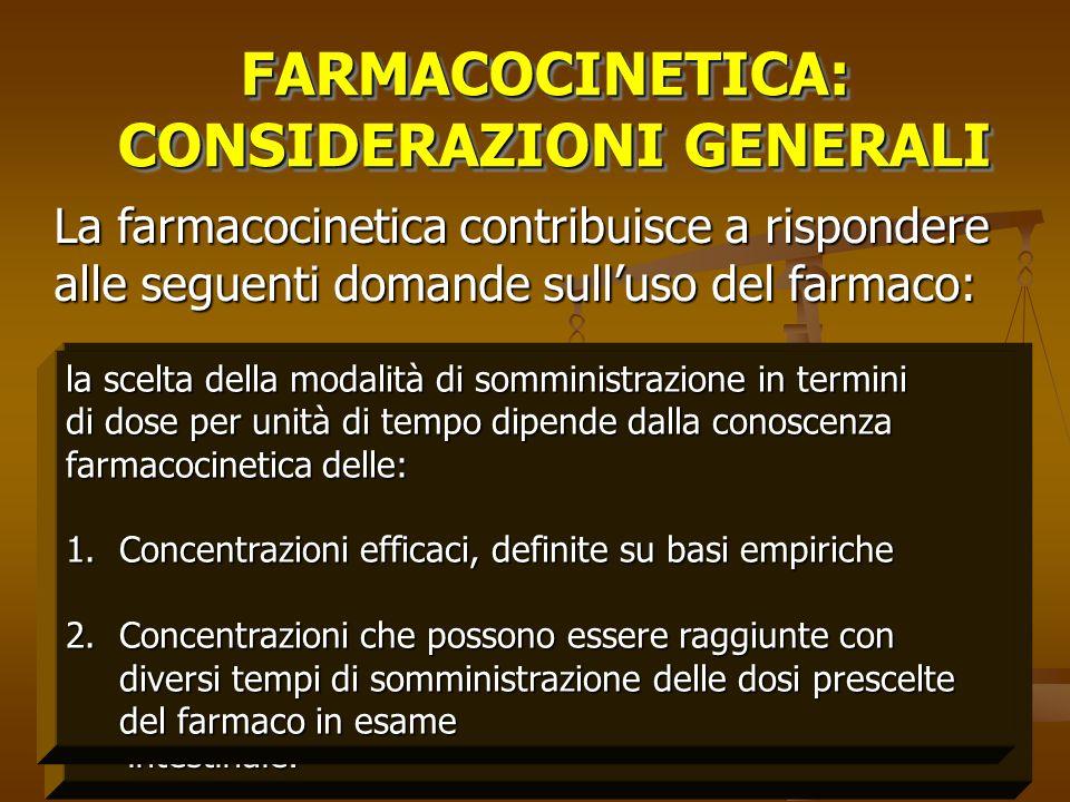 FARMACOCINETICA: CONSIDERAZIONI GENERALI CONSIDERAZIONI GENERALIFARMACOCINETICA: La farmacocinetica contribuisce a rispondere alle seguenti domande su