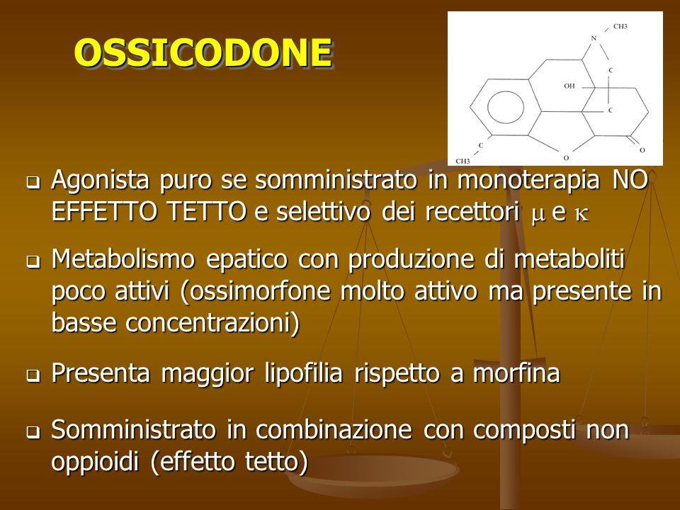 Agonista puro se somministrato in monoterapia NO EFFETTO TETTO e selettivo dei recettori e Agonista puro se somministrato in monoterapia NO EFFETTO TE