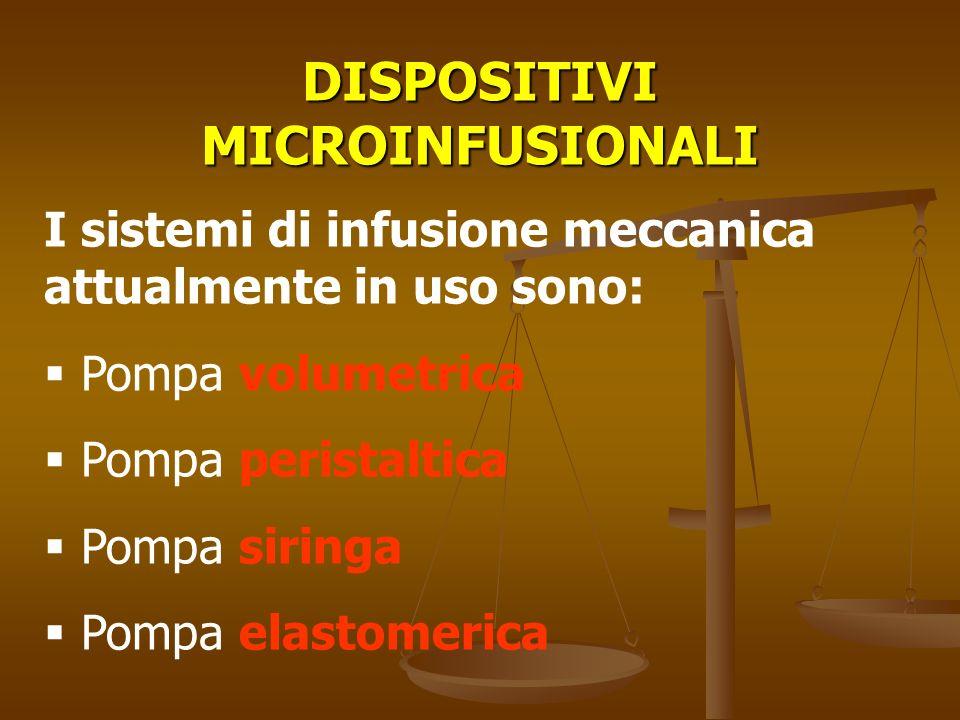 I sistemi di infusione meccanica attualmente in uso sono: Pompa volumetrica Pompa peristaltica Pompa siringa Pompa elastomerica DISPOSITIVI MICROINFUS