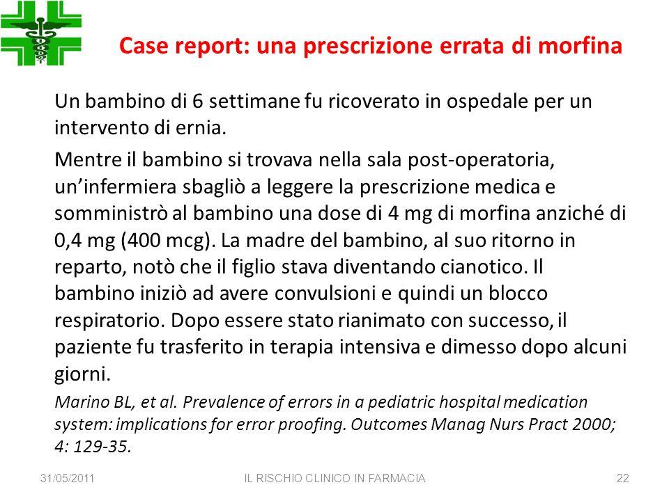 Case report: una prescrizione errata di morfina Un bambino di 6 settimane fu ricoverato in ospedale per un intervento di ernia. Mentre il bambino si t