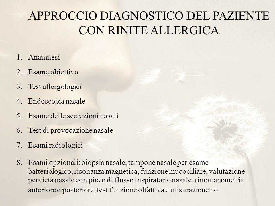 APPROCCIO DIAGNOSTICO DEL PAZIENTE CON RINITE ALLERGICA 1.Anamnesi 2.Esame obiettivo 3.Test allergologici 4.Endoscopia nasale 5.Esame delle secrezioni
