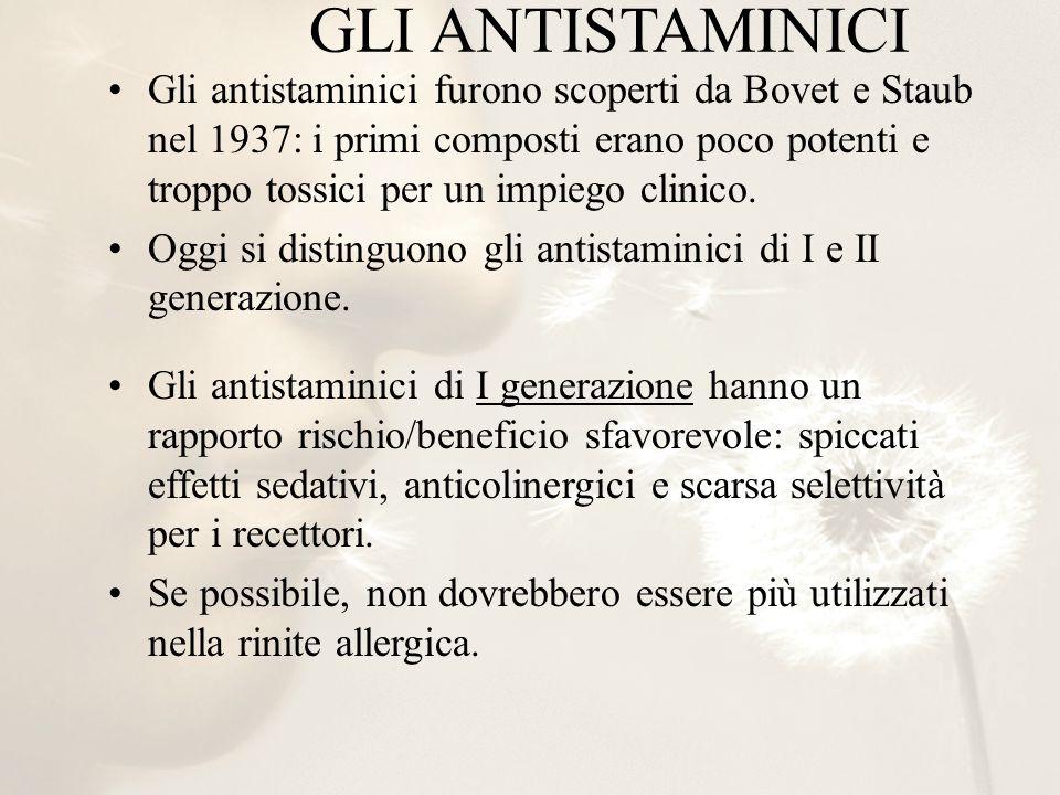 GLI ANTISTAMINICI Gli antistaminici furono scoperti da Bovet e Staub nel 1937: i primi composti erano poco potenti e troppo tossici per un impiego cli