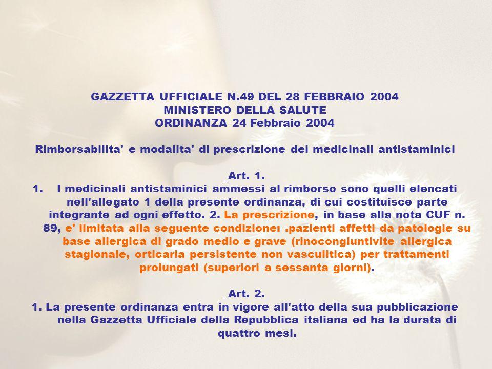 GAZZETTA UFFICIALE N.49 DEL 28 FEBBRAIO 2004 MINISTERO DELLA SALUTE ORDINANZA 24 Febbraio 2004 Rimborsabilita' e modalita' di prescrizione dei medicin