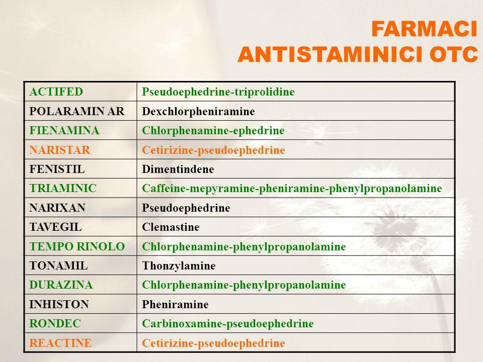 ACTIFEDPseudoephedrine-triprolidine POLARAMIN ARDexchlorpheniramine FIENAMINAChlorphenamine-ephedrine NARISTARCetirizine-pseudoephedrine FENISTILDimen