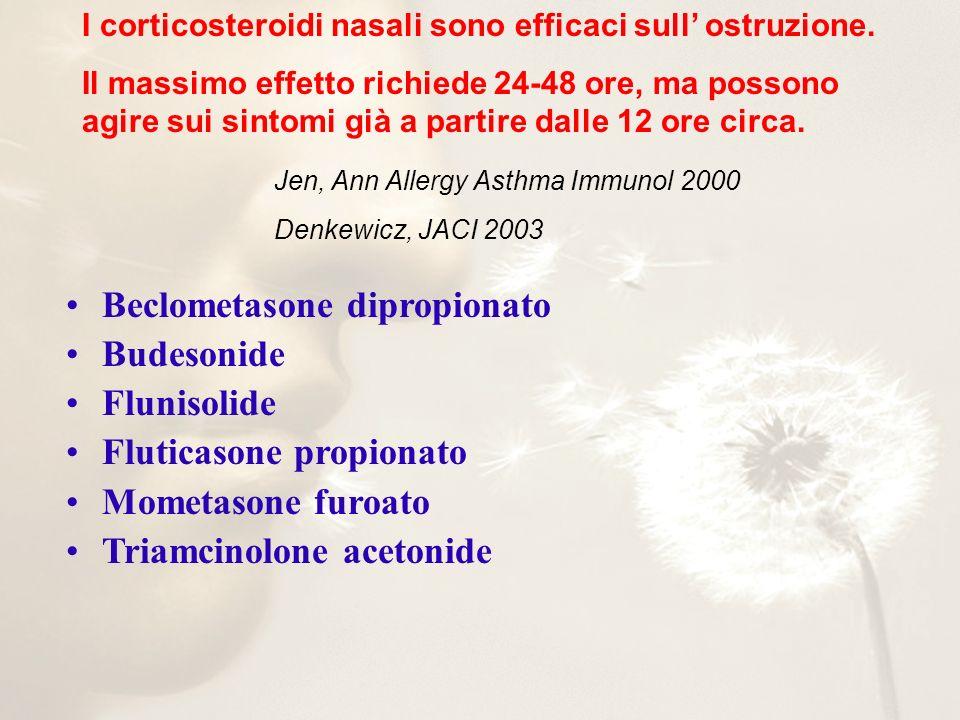 I corticosteroidi nasali sono efficaci sull ostruzione. Il massimo effetto richiede 24-48 ore, ma possono agire sui sintomi già a partire dalle 12 ore