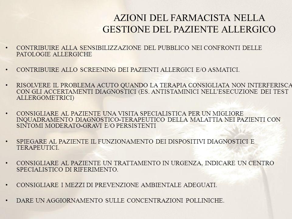 AZIONI DEL FARMACISTA NELLA GESTIONE DEL PAZIENTE ALLERGICO CONTRIBUIRE ALLA SENSIBILIZZAZIONE DEL PUBBLICO NEI CONFRONTI DELLE PATOLOGIE ALLERGICHE C