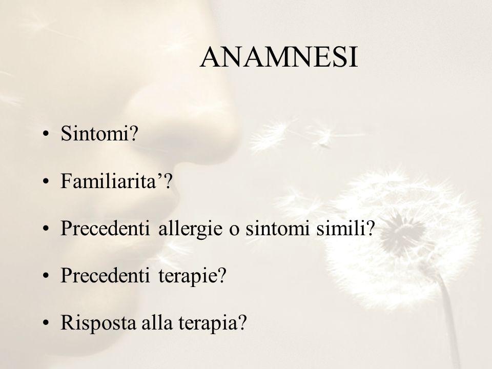 ANAMNESI Sintomi? Familiarita? Precedenti allergie o sintomi simili? Precedenti terapie? Risposta alla terapia?
