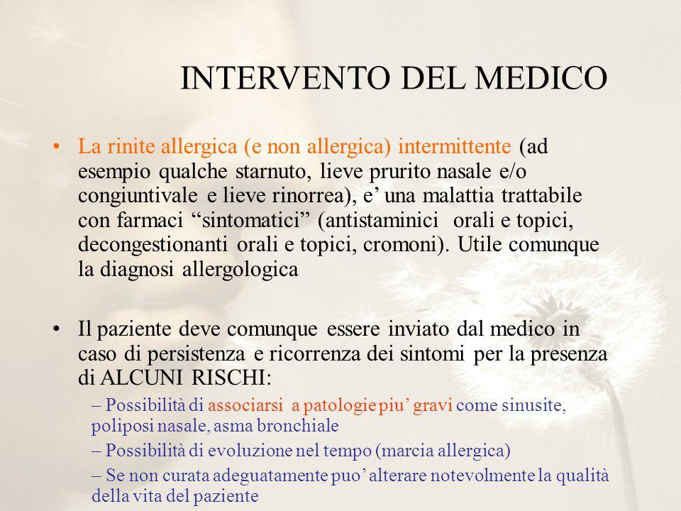 INTERVENTO DEL MEDICO La rinite allergica (e non allergica) intermittente (ad esempio qualche starnuto, lieve prurito nasale e/o congiuntivale e lieve
