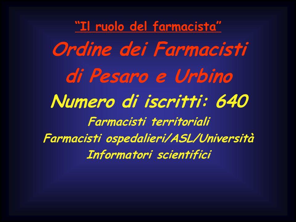 Il ruolo del farmacista Ordine dei Farmacisti di Pesaro e Urbino Numero di iscritti: 640 Farmacisti territoriali Farmacisti ospedalieri/ASL/Università Informatori scientifici