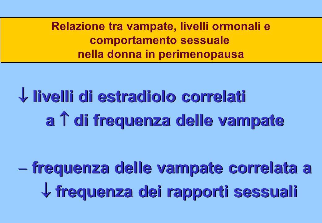 Relazione tra vampate, livelli ormonali e comportamento sessuale nella donna in perimenopausa livelli di estradiolo correlati a di frequenza delle vam