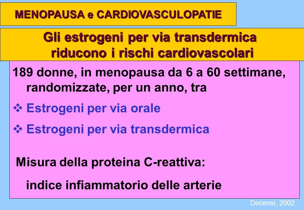 Gli estrogeni per via transdermica riducono i rischi cardiovascolari 189 donne, in menopausa da 6 a 60 settimane, randomizzate, per un anno, tra Estro