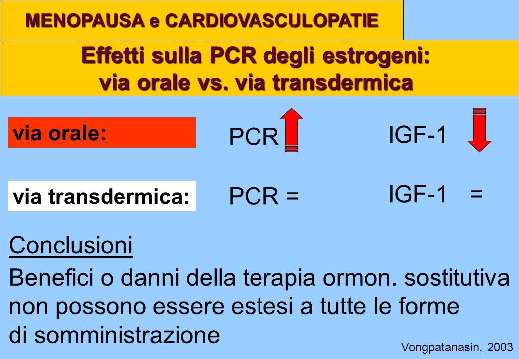 Effetti sulla PCR degli estrogeni: via orale vs. via transdermica MENOPAUSA e CARDIOVASCULOPATIE Vongpatanasin, 2003 PCR via orale: via transdermica: