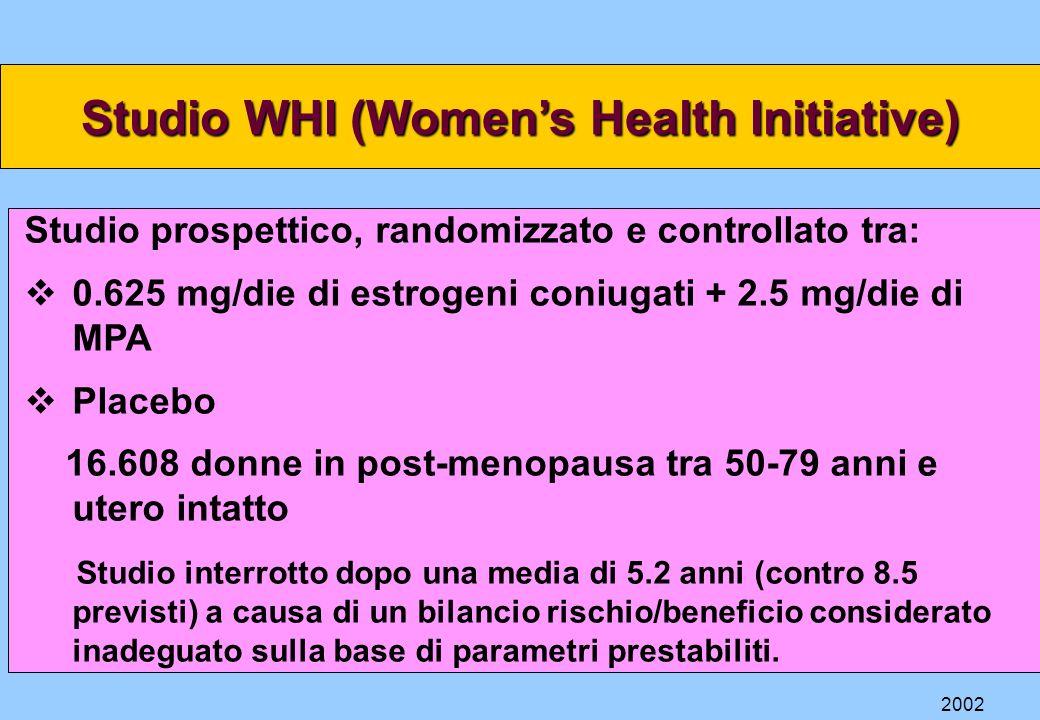 Studio WHI (Womens Health Initiative) Studio prospettico, randomizzato e controllato tra: 0.625 mg/die di estrogeni coniugati + 2.5 mg/die di MPA Plac