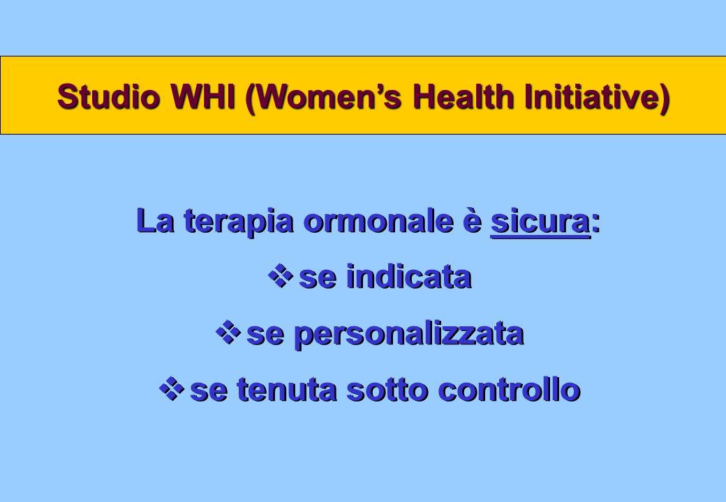 Studio WHI (Womens Health Initiative) La terapia ormonale è sicura: se indicata se personalizzata se tenuta sotto controllo La terapia ormonale è sicu