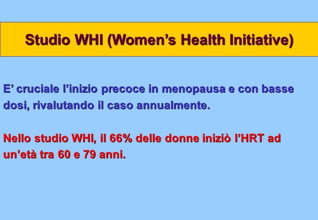 E cruciale linizio precoce in menopausa e con basse dosi, rivalutando il caso annualmente. Nello studio WHI, il 66% delle donne iniziò lHRT ad unetà t