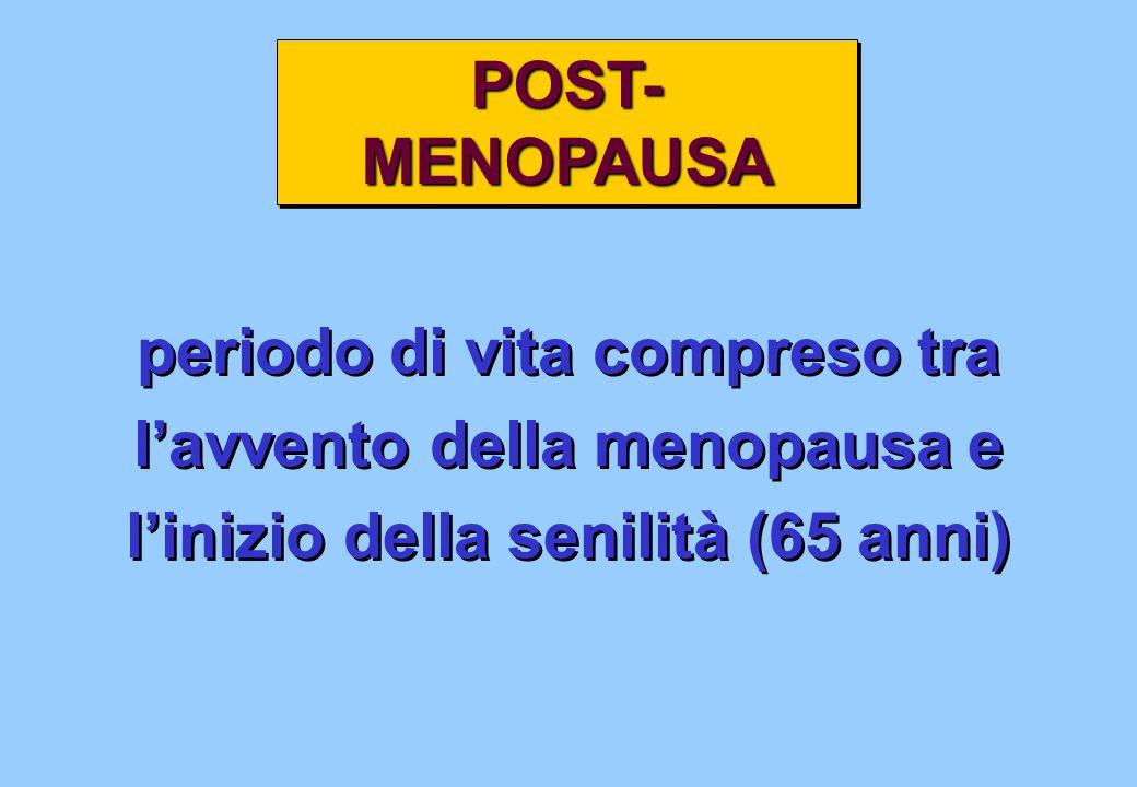periodo di vita compreso tra lavvento della menopausa e linizio della senilità (65 anni) periodo di vita compreso tra lavvento della menopausa e liniz