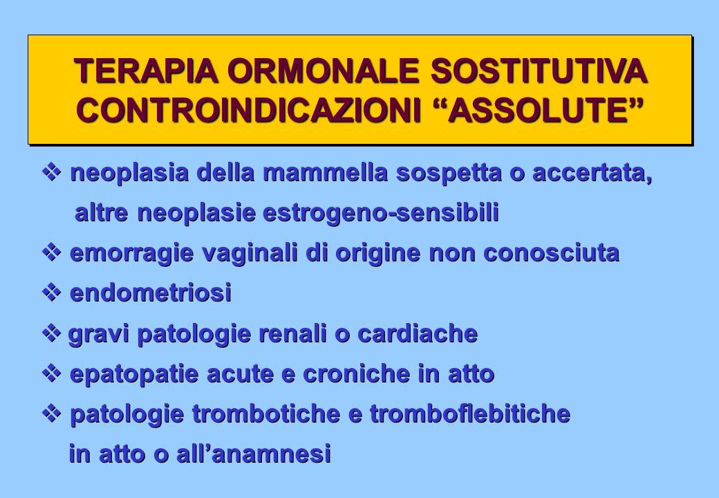 TERAPIA ORMONALE SOSTITUTIVA CONTROINDICAZIONI ASSOLUTE TERAPIA ORMONALE SOSTITUTIVA CONTROINDICAZIONI ASSOLUTE neoplasia della mammella sospetta o ac