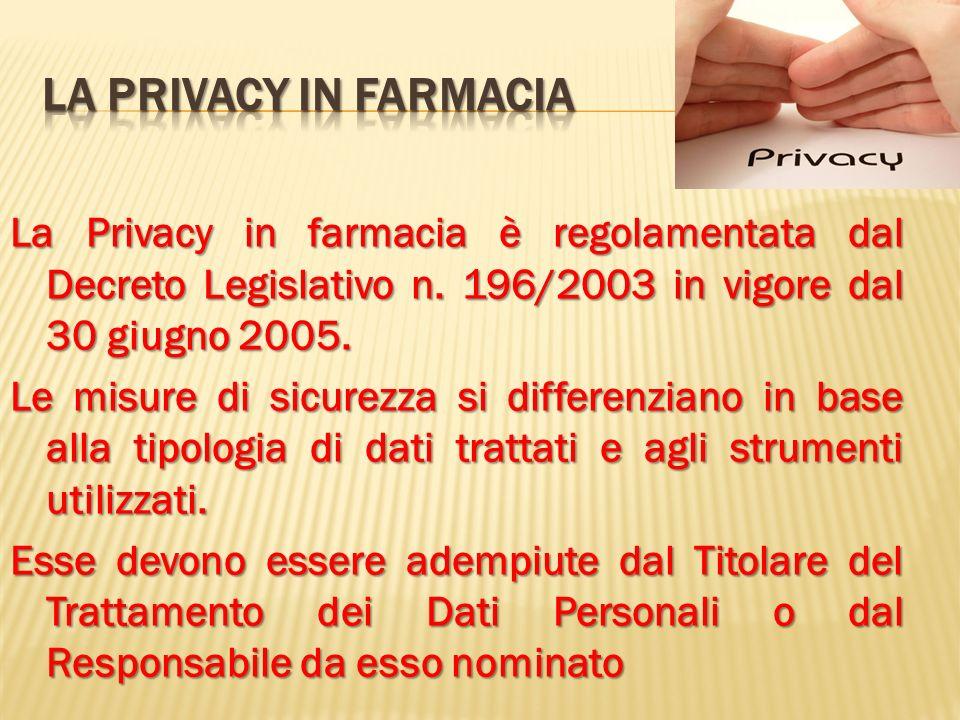 La Privacy in farmacia è regolamentata dal Decreto Legislativo n. 196/2003 in vigore dal 30 giugno 2005. Le misure di sicurezza si differenziano in ba