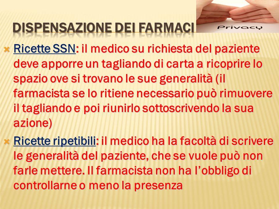 Ricette SSN: il medico su richiesta del paziente deve apporre un tagliando di carta a ricoprire lo spazio ove si trovano le sue generalità (il farmaci