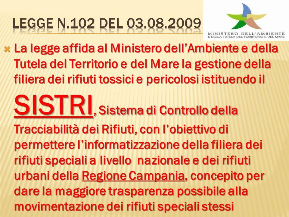 La legge affida al Ministero dellAmbiente e della Tutela del Territorio e del Mare la gestione della filiera dei rifiuti tossici e pericolosi istituen