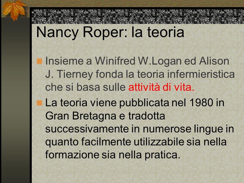 Nancy Roper: la teoria Insieme a Winifred W.Logan ed Alison J. Tierney fonda la teoria infermieristica che si basa sulle attività di vita. La teoria v