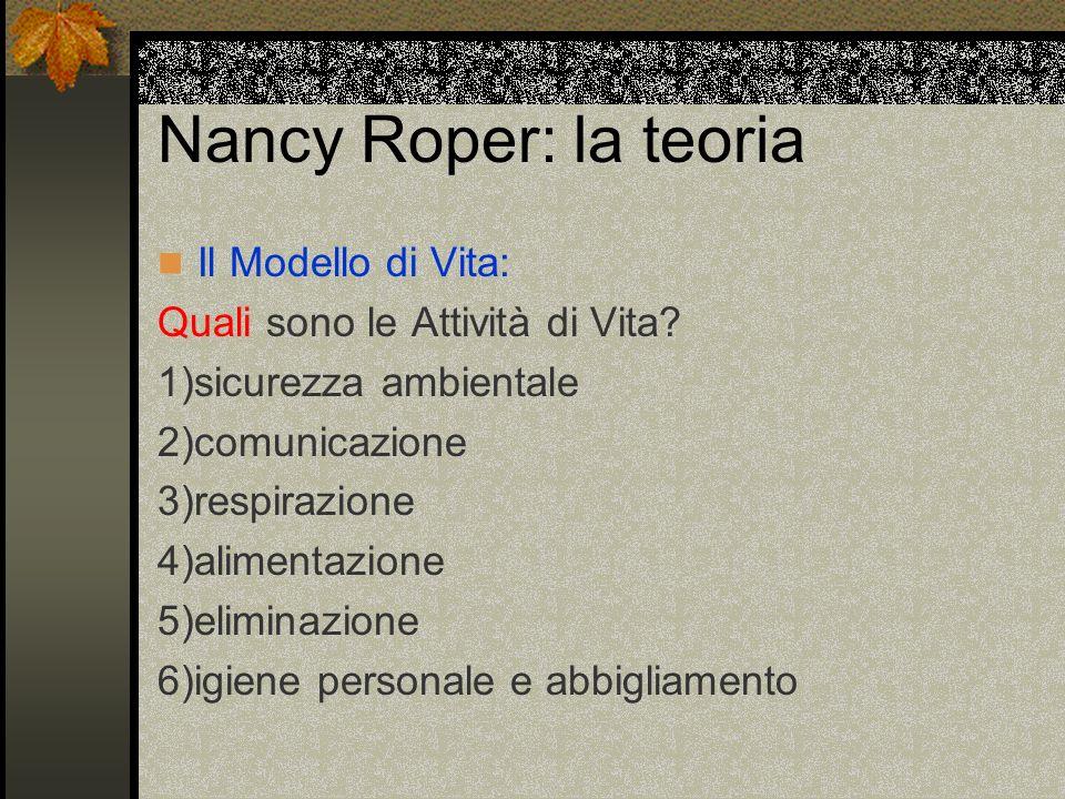 Nancy Roper: la teoria Il Modello di Vita: Quali sono le Attività di Vita? 1)sicurezza ambientale 2)comunicazione 3)respirazione 4)alimentazione 5)eli