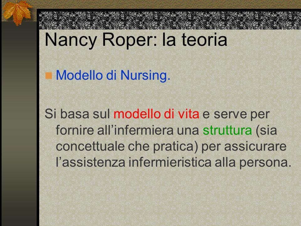 Nancy Roper: la teoria Modello di Nursing. Si basa sul modello di vita e serve per fornire allinfermiera una struttura (sia concettuale che pratica) p