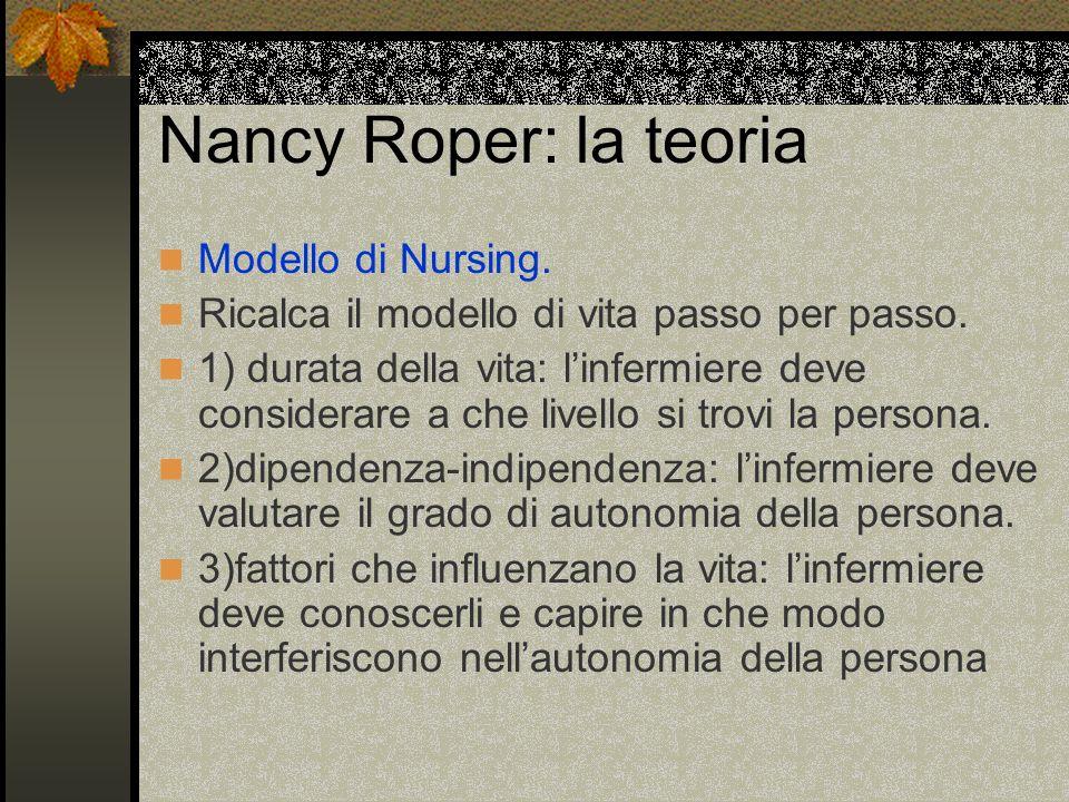 Nancy Roper: la teoria Modello di Nursing. Ricalca il modello di vita passo per passo. 1) durata della vita: linfermiere deve considerare a che livell