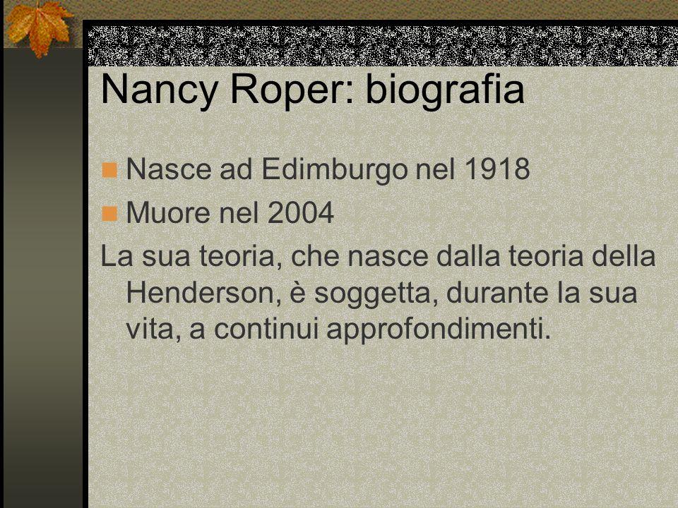 Nancy Roper: biografia Nasce ad Edimburgo nel 1918 Muore nel 2004 La sua teoria, che nasce dalla teoria della Henderson, è soggetta, durante la sua vi
