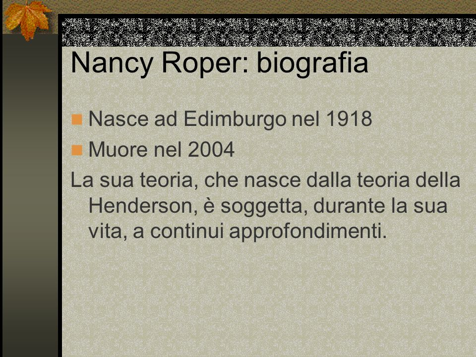 N.Roper e il metaparadigma del nursing.