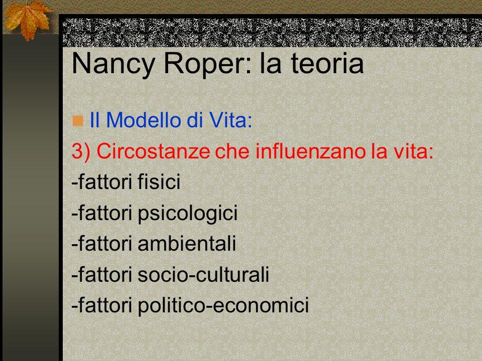 Nancy Roper: la teoria Il Modello di Vita: 3) Circostanze che influenzano la vita: -fattori fisici -fattori psicologici -fattori ambientali -fattori s