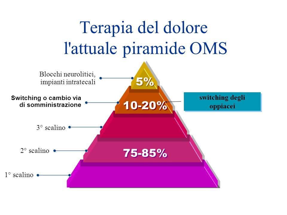 5% 10-20% 75-85% Blocchi neurolitici, impianti intratecali 3° scalino 2° scalino 1° scalino Switching o cambio via di somministrazione switching degli oppiacei Terapia del dolore l attuale piramide OMS