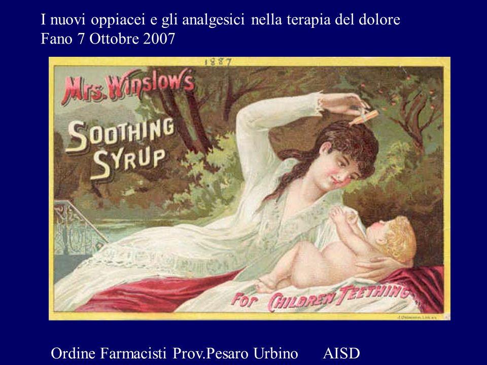 I nuovi oppiacei e gli analgesici nella terapia del dolore Fano 7 Ottobre 2007 Ordine Farmacisti Prov.Pesaro Urbino AISD
