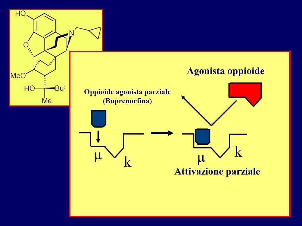 Oppioide agonista parziale (Buprenorfina) Agonista oppioide Attivazione parziale µ µ k k