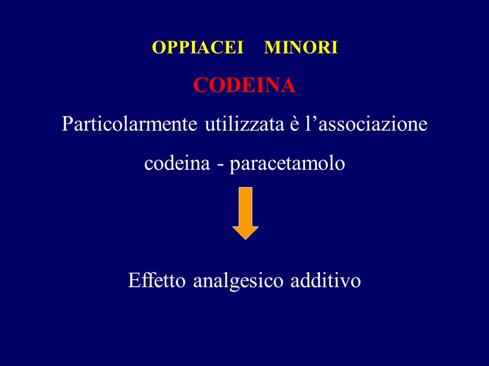 OPPIACEI MINORI CODEINA Particolarmente utilizzata è lassociazione codeina - paracetamolo Effetto analgesico additivo