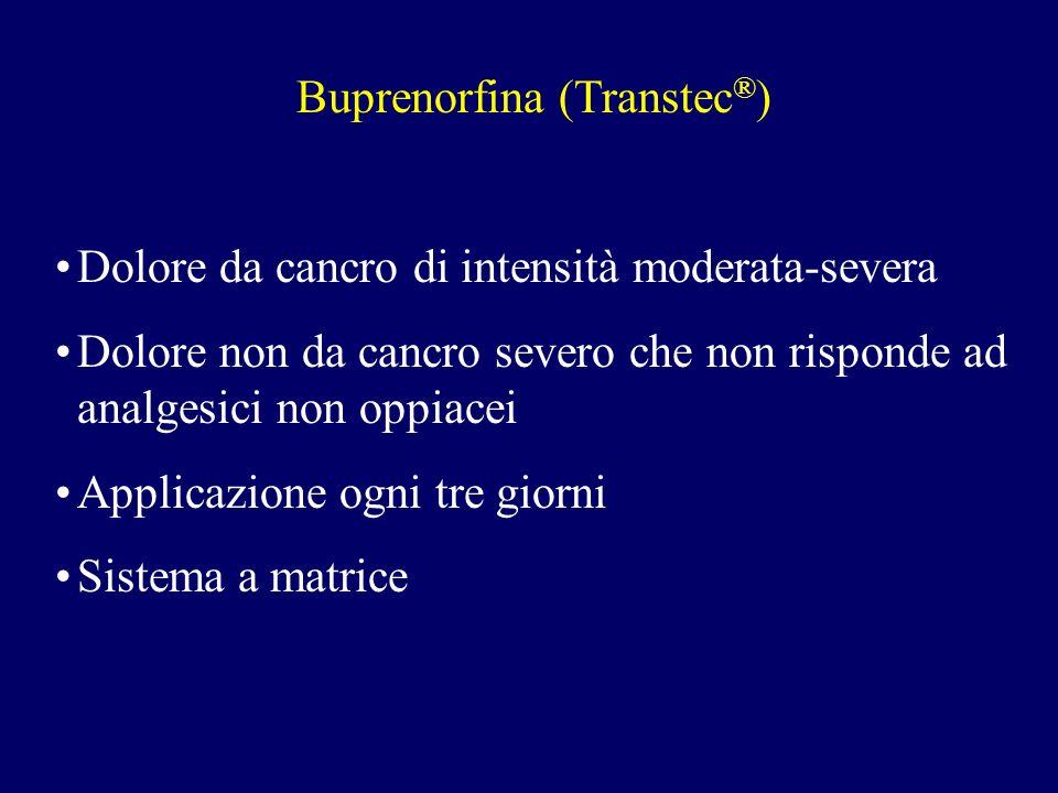 Buprenorfina (Transtec ® ) Dolore da cancro di intensità moderata-severa Dolore non da cancro severo che non risponde ad analgesici non oppiacei Applicazione ogni tre giorni Sistema a matrice
