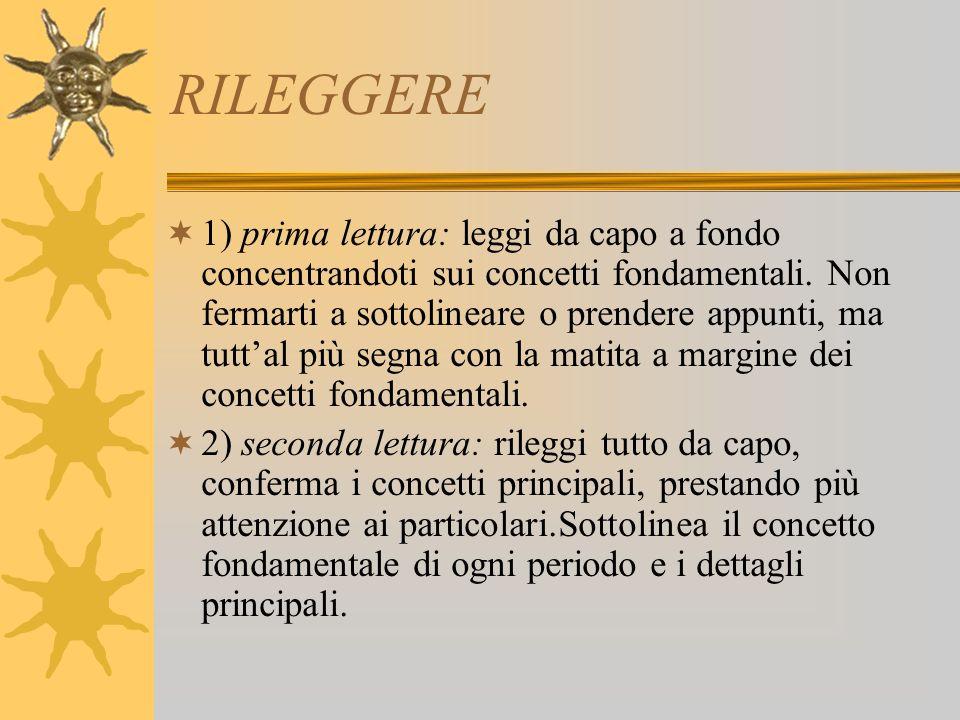 RILEGGERE 1) prima lettura: leggi da capo a fondo concentrandoti sui concetti fondamentali.