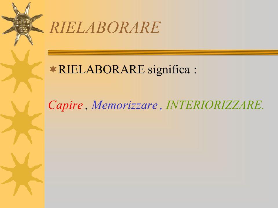 RIELABORARE RIELABORARE significa : Capire, Memorizzare, INTERIORIZZARE.