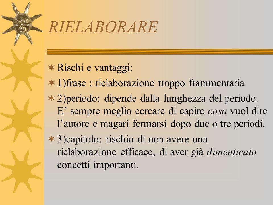 RIELABORARE Rischi e vantaggi: 1)frase : rielaborazione troppo frammentaria 2)periodo: dipende dalla lunghezza del periodo.