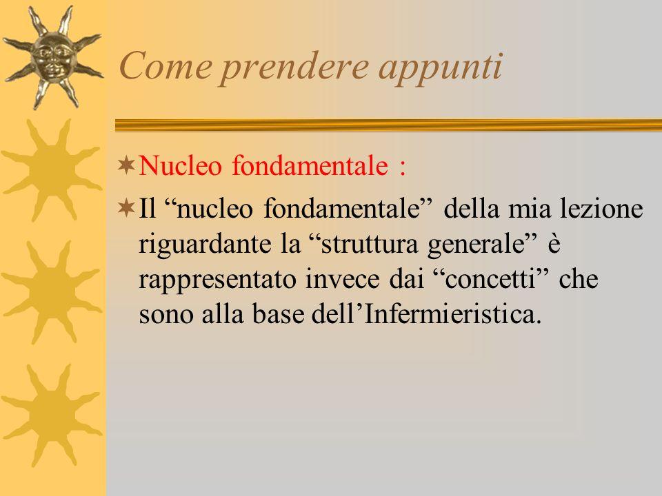 Come prendere appunti Nucleo fondamentale : Il nucleo fondamentale della mia lezione riguardante la struttura generale è rappresentato invece dai concetti che sono alla base dellInfermieristica.