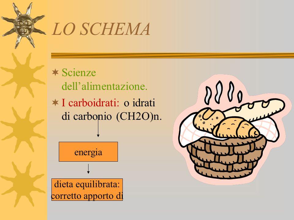 LO SCHEMA Scienze dellalimentazione.I carboidrati: o idrati di carbonio (CH2O)n.