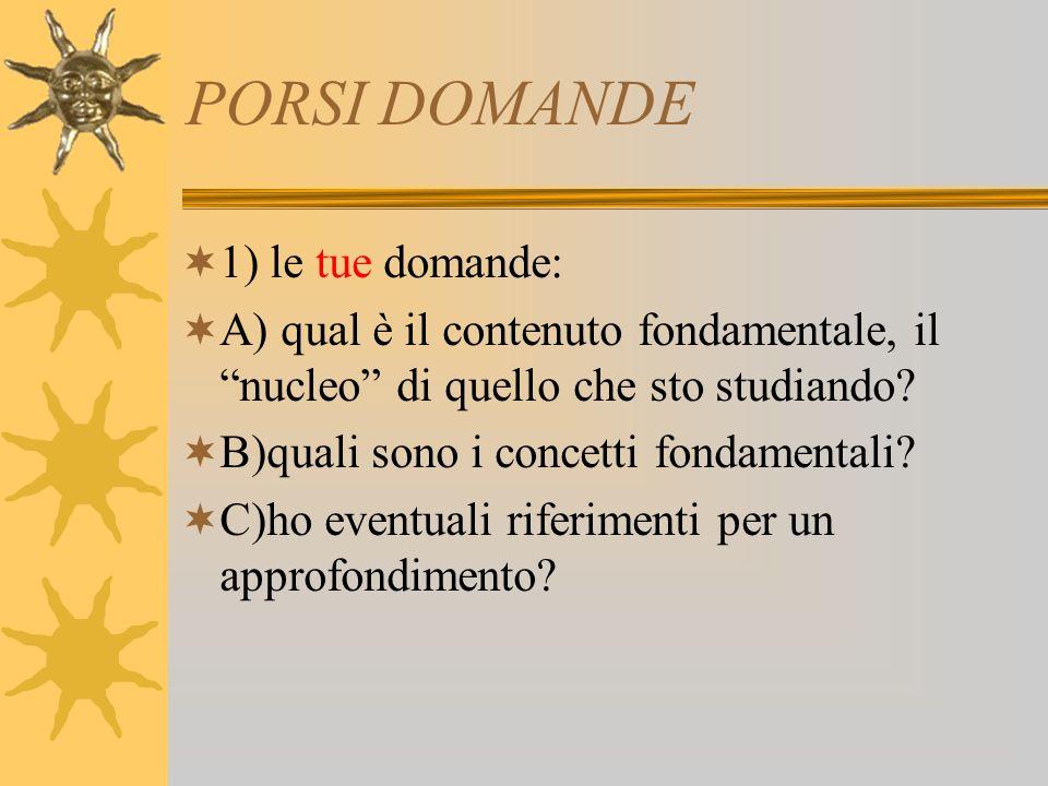 PORSI DOMANDE 2) le domande del docente: A) il docente ve lo indica esplicitamente durante le lezioni.