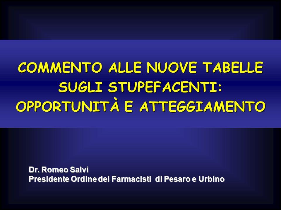 COMMENTO ALLE NUOVE TABELLE SUGLI STUPEFACENTI: OPPORTUNITÀ E ATTEGGIAMENTO Dr. Romeo Salvi Presidente Ordine dei Farmacisti di Pesaro e Urbino
