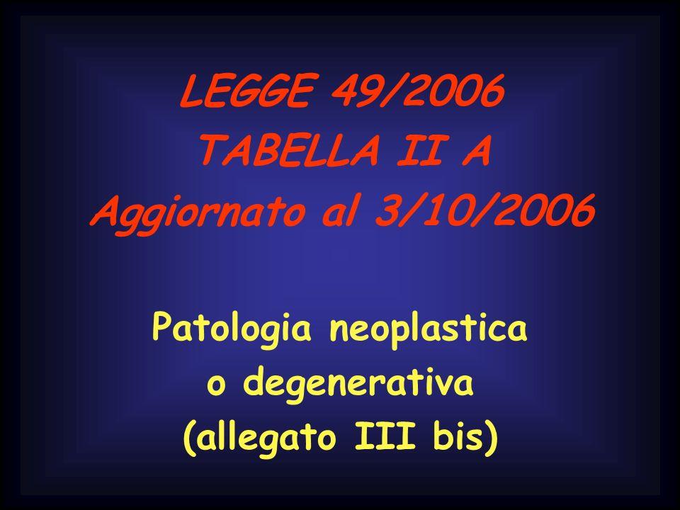 LEGGE 49/2006 TABELLA II A Aggiornato al 3/10/2006 Patologia neoplastica o degenerativa (allegato III bis)