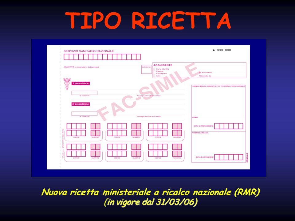 Nuova ricetta ministeriale a ricalco nazionale (RMR) in vigore dal 31/03/06) (in vigore dal 31/03/06) TIPO RICETTA